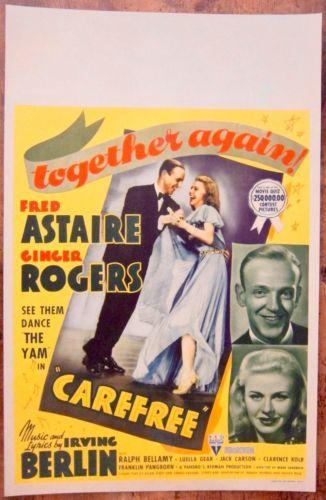 Carefree Fred Astaire Ginger Rogers 1938 Us Window Card Movie Poster Aaa Vintage Posters