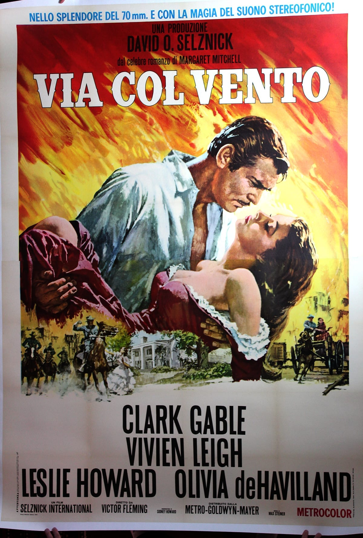 """Gone With the Wind (Italy, 1949) 55"""" x 78"""" Movie Poster ..."""